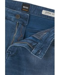 BOSS - Blue Slim-fit Jeans In Distressed Indigo Stretch Denim for Men - Lyst