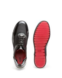 HUGO - Black Lace-up Trainers In Soft Leather for Men - Lyst