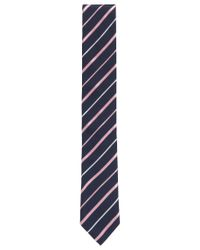 BOSS - Pink Striped Italian Silk Repp Slim Tie for Men - Lyst