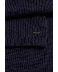 BOSS - Blue Waffle-knit Scarf In Virgin Wool for Men - Lyst