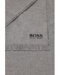 BOSS - Gray Brushed-cotton Block-stripe Scarf With Logo Detail for Men - Lyst