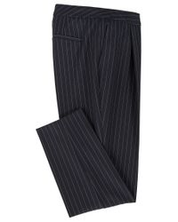 BOSS - Blue Regular-fit Cropped Trousers In Stretch Pinstripe Fabric - Lyst