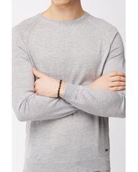 BOSS - Black Agate-stone Bracelet With Metal Logo Beads for Men - Lyst