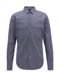 BOSS - Blue Slim-fit Shirt In Cotton With Anni Albers-inspired Pattern for Men - Lyst
