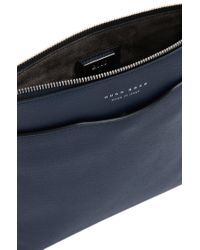BOSS - Blue Signature Collection Crossbody Envelope Bag In Palmellato Leather for Men - Lyst