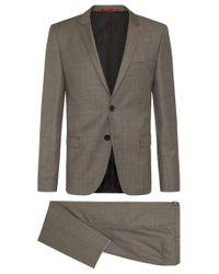 HUGO | Natural 'arti/helion' | Slim Fit, Virgin Wool Suit for Men | Lyst