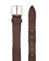 BOSS Orange - Brown Leather Belt With Distressed Edges for Men - Lyst