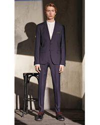 HUGO - Blue Extra-slim-fit Suit In Mélange Virgin Wool for Men - Lyst