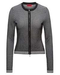 HUGO - Multicolor Slim-fit Zip-through Jacket In 3d Waffle Fabric - Lyst
