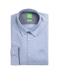 BOSS Green | Blue Regular-fit Cotton Shirt With Embroidered Logo for Men | Lyst