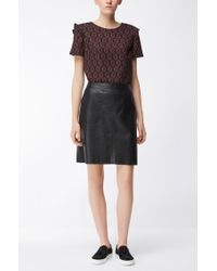 BOSS - Black Ruffle-shoulder Jacquard Top In Stretch Fabric - Lyst