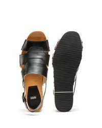 HUGO - Black Leather Platform Sandals With Stud Detailing - Lyst
