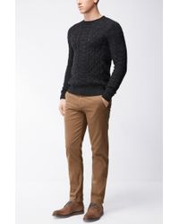 BOSS Orange - Black Cable-knit Sweater In A Cotton Blend for Men - Lyst