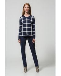 HUGO - Blue Relaxed-fit Checkered Sweater In A Stretch-cotton Blend - Lyst