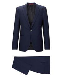 HUGO - Blue 'adgin/hiels' | Slim Fit, Jacquard Italian Super 120 Virgin Wool Suit for Men - Lyst