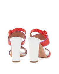 BOSS - Red Block-heel Sandals In Italian Leather - Lyst