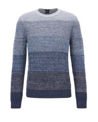 BOSS Orange   Blue Linen-blend Sweater With Half-cardigan Structure for Men   Lyst