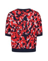 HUGO - Red Cotton-blend Camouflage Sweater With Bird Appliqué - Lyst