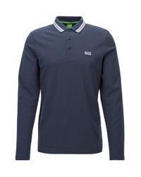 BOSS - Blue Long-sleeved Polo Shirt In Cotton Piqué: 'plisy' for Men - Lyst