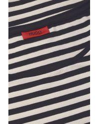HUGO - Blue Striped T-shirt In Stretch Cotton Blend: 'dannala_2' - Lyst