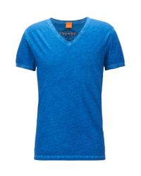 BOSS Orange - Blue Used-look T-shirt In Pure Cotton: 'toulouse' for Men - Lyst