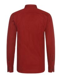 HUGO - Red Plain Slim-fit Shirt In Stretch Cotton: 'elisha' for Men - Lyst