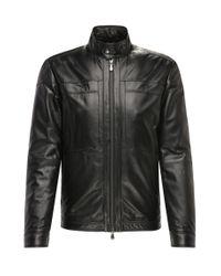 BOSS Green | Black Regular-fit Leather Jacket With A Fine Grain: 'c-jordes' for Men | Lyst