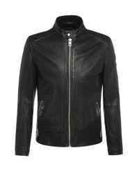 BOSS Orange   Black Slim-fit Biker-style Leather Jacket With A Band Collar: 'jofynn' for Men   Lyst