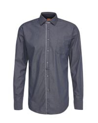 BOSS Orange | Blue Slim-fit Shirt In Lightweight Cotton: 'eslime_1' for Men | Lyst