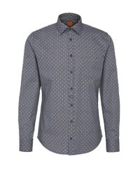 BOSS Orange | Blue Patterned Slim-fit Shirt In Textured Cotton: 'eslime_1' for Men | Lyst