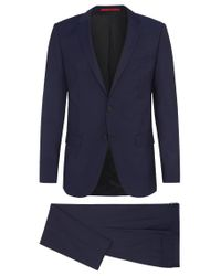 HUGO | Blue Finely Mottled Slim-fit Suit In New Wool: 'c-harvey/c-getlin' for Men | Lyst
