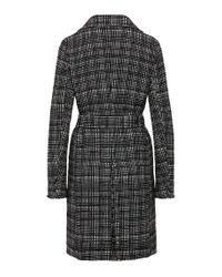BOSS Orange - Black Tweed-look Coat In Cotton Blend: 'otrenchelle' - Lyst