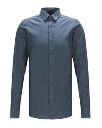 HUGO   Blue Extra Slim-fit Cotton Shirt With A Subtle Melange Effect: 'efi' for Men   Lyst