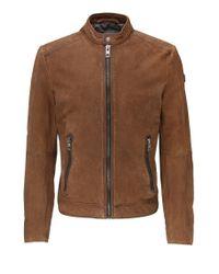 BOSS Orange | Brown Biker Jacket In Leather: 'jonate' for Men | Lyst