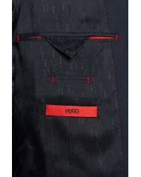 HUGO | Blue Slim-fit Suit In Yarn-dyed Virgin Wool for Men | Lyst