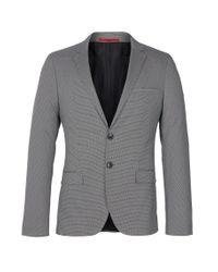 HUGO | Gray Dark Grey Herringbone Coat for Men | Lyst