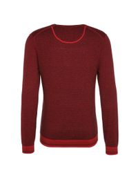 BOSS Orange - Red 'kerpen' | Cotton Virgin Wool Finestripe Sweater for Men - Lyst