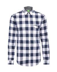 BOSS Green | Blue 'bagata' | Regular Fit, Cotton Button Down Shirt for Men | Lyst