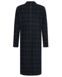 HUGO - Blue 'melox' | Wool Blend Glen Check Long Coat for Men - Lyst