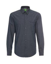 BOSS Green | Blue 'c-bacchis' | Regular Fit, Cotton Dot Button Down Shirt for Men | Lyst