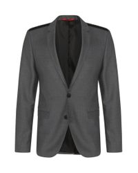 HUGO | Gray 'andson' | Extra Slim Fit, Virgin Wool Vegan-leather Shoulder Sport Coat for Men | Lyst