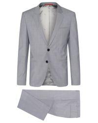 HUGO | Gray 'arvon/wiant/hilwert' | Slim Fit, Italian Virgin Wool 3-piece Suit for Men | Lyst