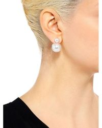 Fallon - Metallic Double Pearl Earrings - Lyst