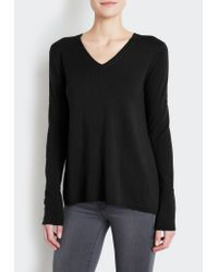 INHABIT | Black Fly-away V-neck Sweater | Lyst
