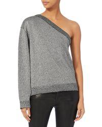 RTA - Gray Goldie One Shoulder Sweater - Lyst