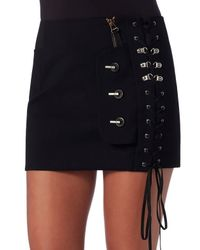 Anthony Vaccarello - Black Lace-up Front Skirt - Lyst