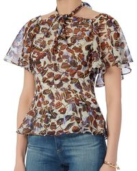 Derek Lam - Brown Off-shoulder Neck Knot Blouse - Lyst