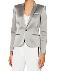 Barbara Bui - Metallic High-shine Silver Blazer - Lyst