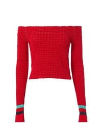 3.1 Phillip Lim - Red Off-the-shoulder Pullover - Lyst