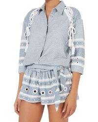 Dodo Bar Or - Blue Embellished Cotton Playsuit - Lyst
